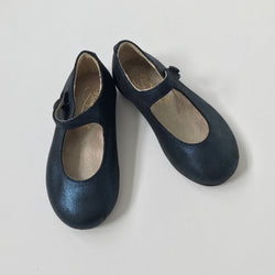 Bonpoint Metallic Navy Mary-Jane Shoes: Size 21