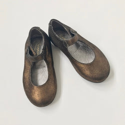Bonpoint Bronze Mary-Jane Shoes: Size 22