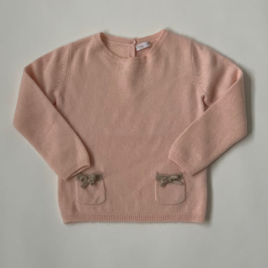 Il Gufo Pale Pink Cashmere Jumper With Bow Trim: 2 Years