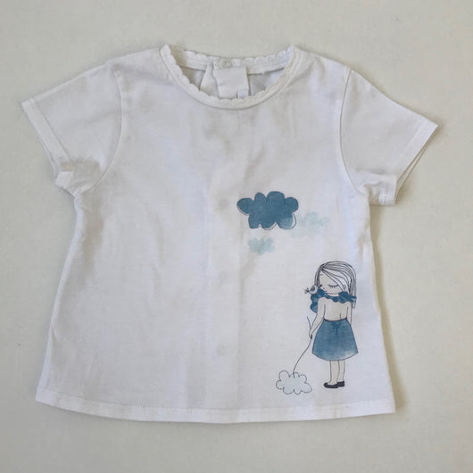 Chloé White Cotton T-Shirt With Motif: 9 Months