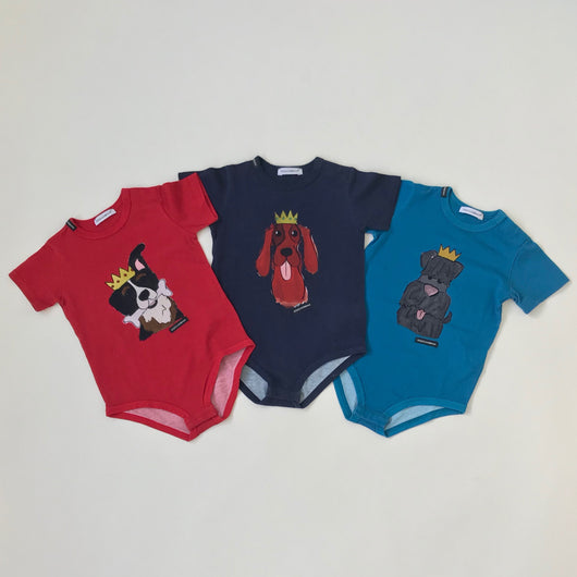 Dolce & Gabbana Set of Three Dog Motif Tops: 9 Months