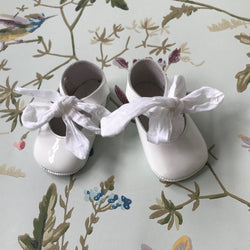 Baby Dior White Patent Baby Ballet Pumps With Ribbon Tie: Size 17
