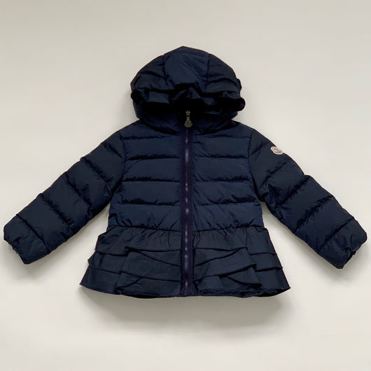 Moncler Navy Blue Down Filled Coat With Frill Detail