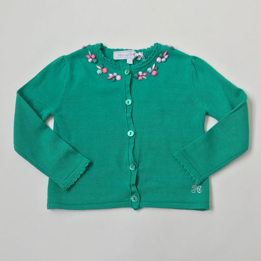 Tartine et Chocolat Green Cardigan With Bead Embellishment: 2 Years (Brand New)