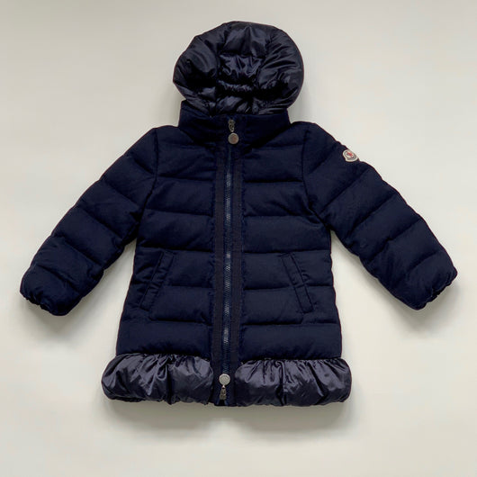Moncler Navy Blue Wool Coat With Detachable Hood