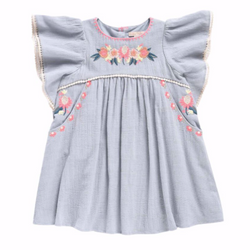 Louise Misha Duck Egg Blue Dress With Neon Embroidery