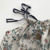 Caramel Floral Print Cotton Summer Blouse With Ties