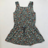 Bonpoint Green Toned Liberty Print Pinafore Dress: 3 Years