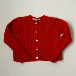 Bonpoint Red Ribbed Cashmere Cardigan: 3 Years