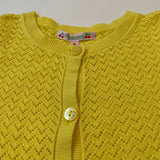 Bonpoint Yellow Cotton Pointelle Cardigan: 8 Years