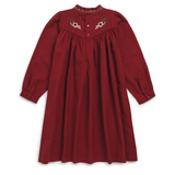 Bonpoint Maroon Dress With Embroidery
