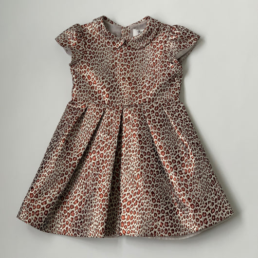 Bonpoint Metallic Leopard Print Dress With Collar: 8 Years