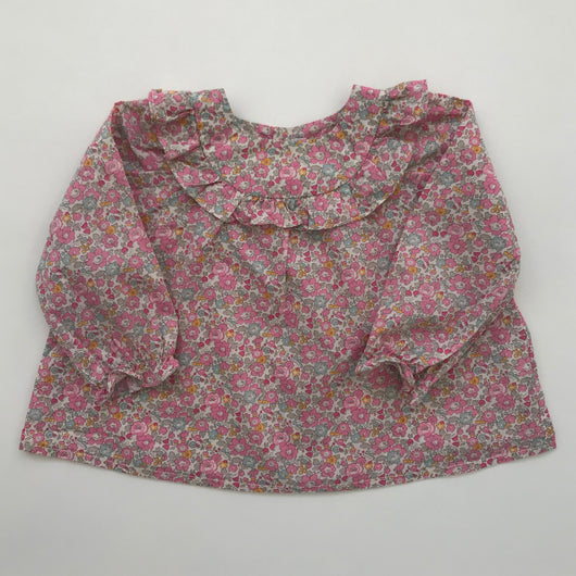 Bonpoint Liberty Print Floral Blouse With Frill: 18 Months
