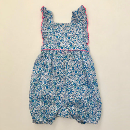 Sunuva Liberty Print Romper With Pink Trim: 6-12 Months