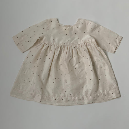 Bonpoint Cream Silk Polka Dot Dress: 18 Months