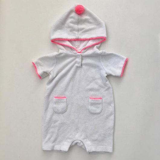 Sunuva White Towelling Romper With Neon Pink Trim: 6-12 Months