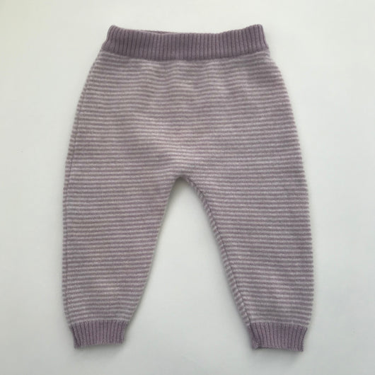 Olivier London Purple And White Stripe Cashmere Leggings: 3-6 Months