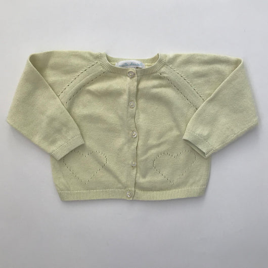 Marie-Chantal Lemon Yellow Cotton Cardigan: 12 Months