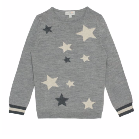 Wild & Gorgeous Grey Merino Wool Jumper With Stars