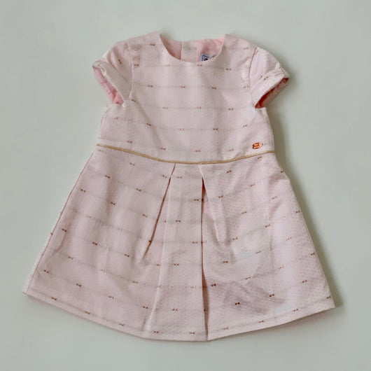 Tartine et Chocolat Pink Dress With Rose Gold Details: 18 Months