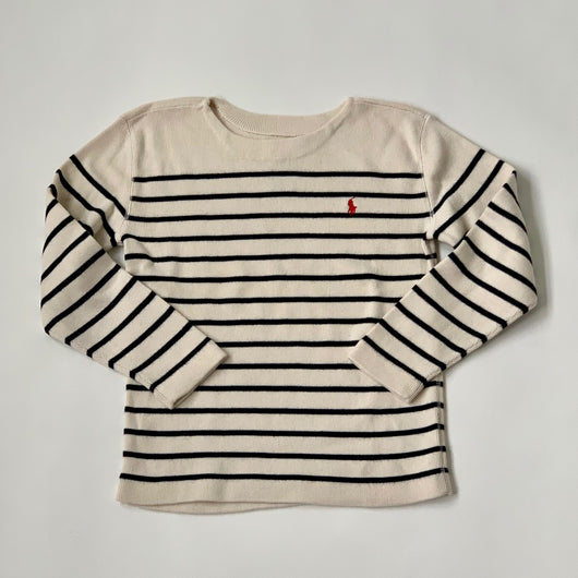 Ralph Lauren Cream And Navy Stripe Cotton/ Cashmere Mix Jumper: 7 Years