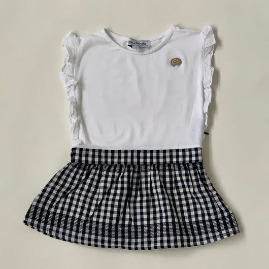 Tartine et Chocolat Black And White Cotton Dress: 2 Years