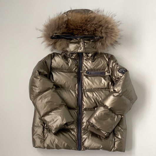 Bonpoint Bronze Metallic Ski Down Filled Coat With Fur Trim