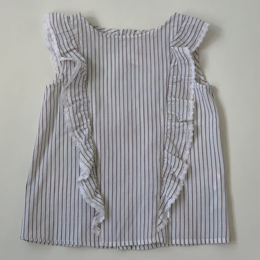 Bonpoint Blue And White Stripe Top With Lace Trim