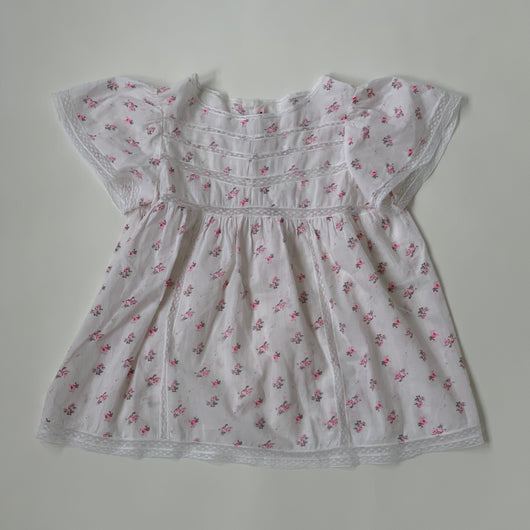 Bonpoint Rose Print Blouse With Lace Trim: 8 Years