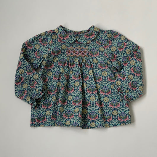 Bonpoint Smocked Liberty Print Blouse With Collar: 18 Months