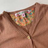 Bonpoint Tobacco Cotton Cardigan With Liberty Print Trim: 18 Months