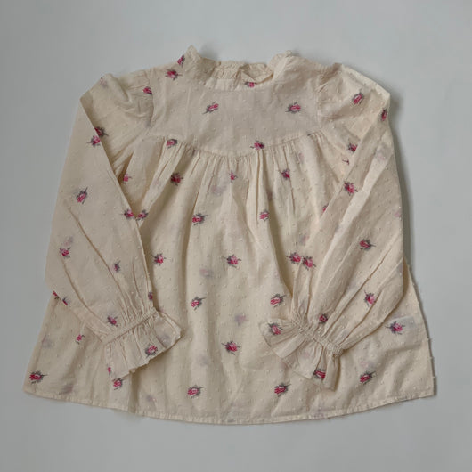 Bonpoint Rose Print Blouse With High Collar: 10 Years (Brand New)
