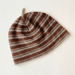 Caramel Striped Wool & Cashmere Mix Baby Hat: 3-6 Months