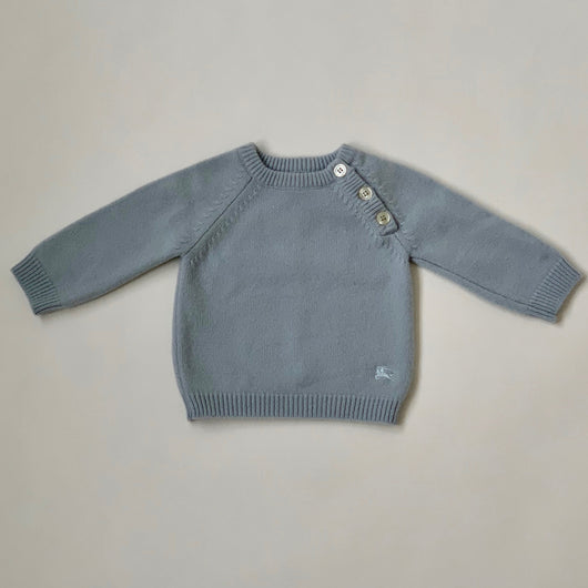 Burberry Pale Blue Wool/ Cashmere Mix Jumper: 6 Months