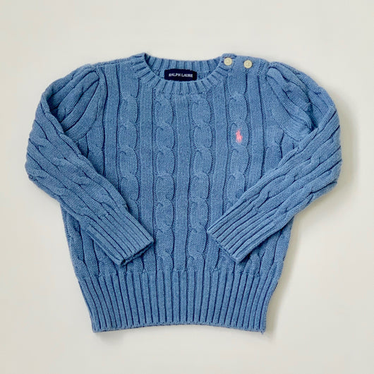 Ralph Lauren Powder Blue Cotton Cable Knit Jumper