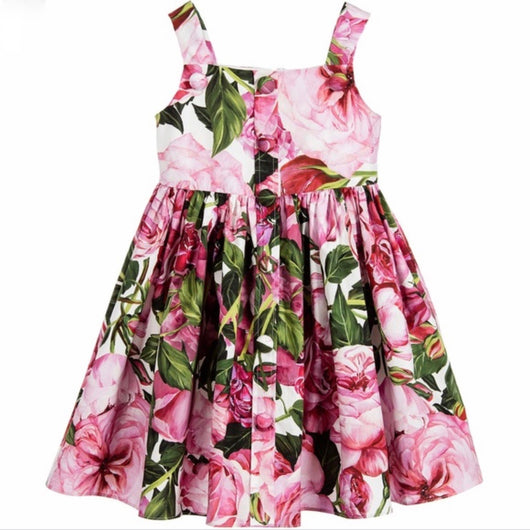 Dolce & Gabbana Rose Print Cotton Sundress: 7-8 Years