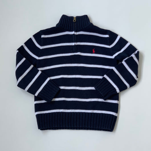 Ralph Lauren Navy And White Stripe Jumper With Zip: 6 Years