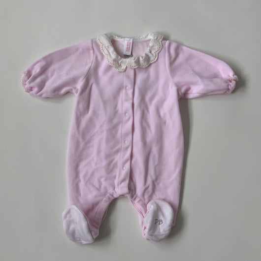 Petit Bateau Pale Pink Velour All-In-Ones :1 Month