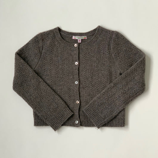 Bonpoint Mushroom Cashmere Cable Knit Cardigan: 6 Years