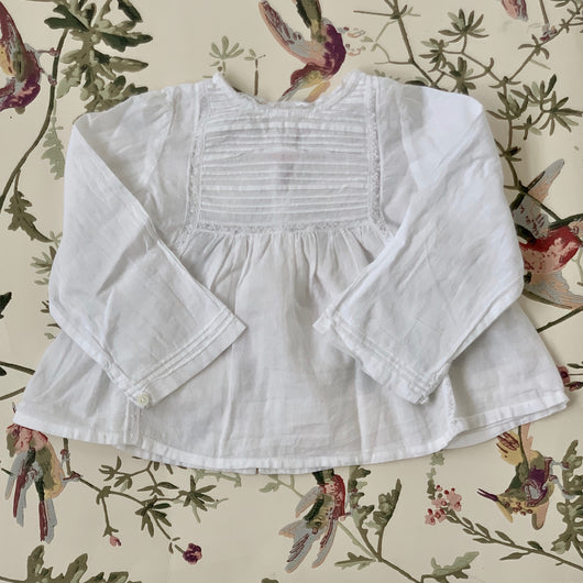 Bonpoint White Cotton Pintuck Blouse With Lace Trim: 6 Months