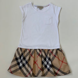 Burberry Cotton Dress with Heritage Burberry Check Skirt: 4 Years