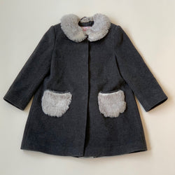 Il Gufo Grey Wool And Cashmere Coat With Faux Fur Collar: 5 Years