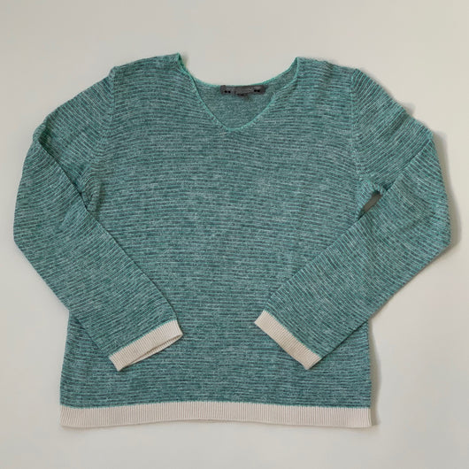 Bonpoint Turquoise Green Cotton/ Linen Mix Jumper