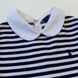 Ralph Lauren Navy And White Stripe Dress With Collar: 8-10 Years