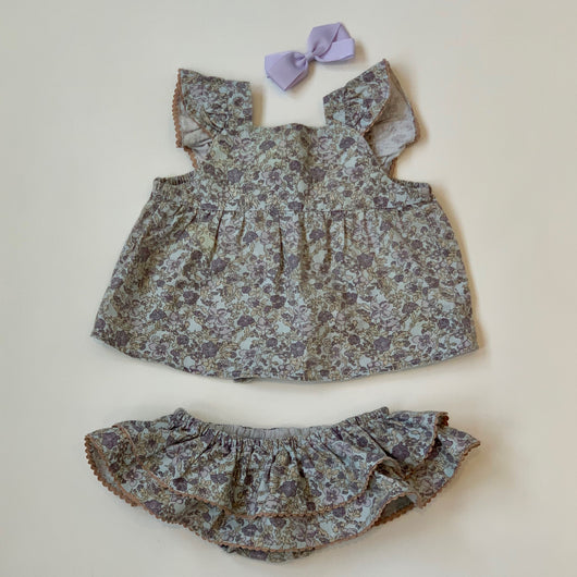 La Coqueta Liberty Print Top with Matching Ruffled Bottoms: 6 Months
