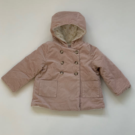 Bonpoint Dusty Pink Cord Jacket With Cherry Print Lining: 3 Years