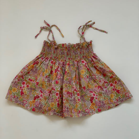 Poppy Rose Liberty Print Summer Top With Smocking: 6-7 Years