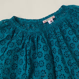 Bonpoint Teal Broderie Anglaise Blouse: 12 Years