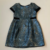 Bonpoint Teal And Black Metallic Party Dress: 10 Years
