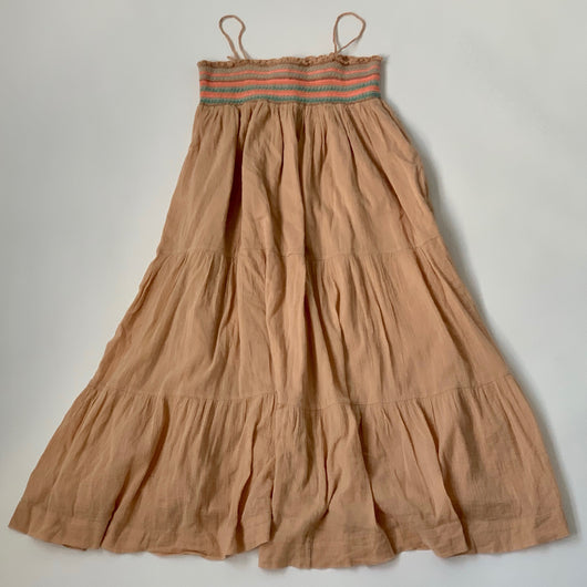 Bonpoint Long Apricot Cotton Sundress With Smocking: 12 Years